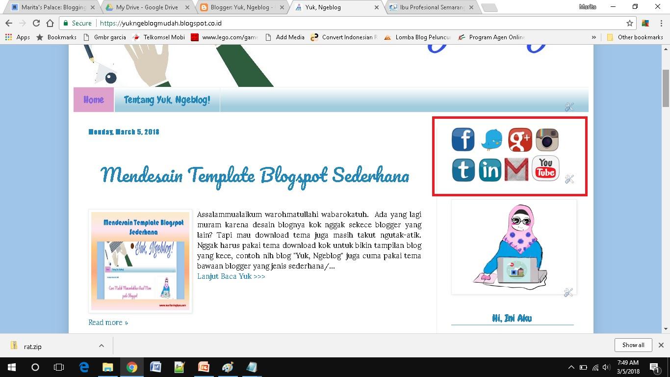 cara mudah menambah social media button di blogspot sudah tampil