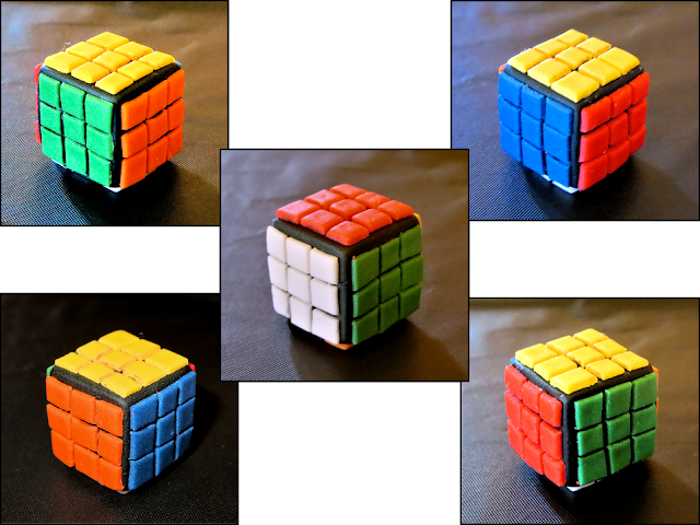 Nerdy Thirty Cake - Different Sides of Fondant Rubik's Cube Collage
