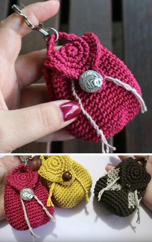 Mini Backpack Keychain - Free Crochet Pattern