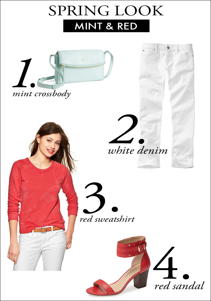 mint and red, gap denim, spring look, red sweatshirt, mint crossbody, fashion, style, trends