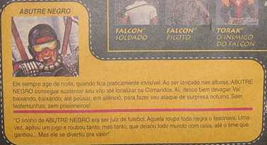 Abutre Negro, Black Vulture, Patrulha do Ar, Sky Patrol, Estrela, Brazil, Rare G.I. Joe Figures, 1988 Destro, Iron Grenadier, filecard
