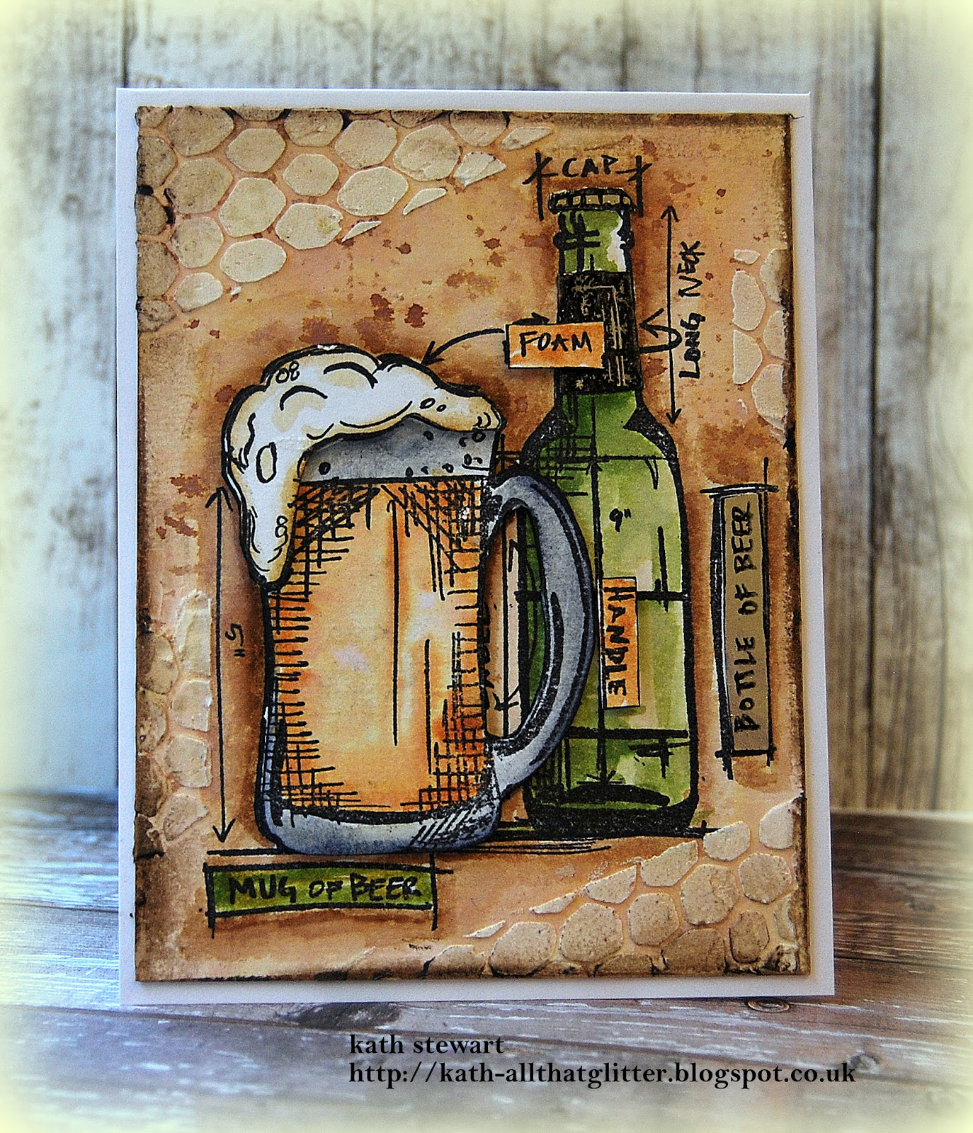 Kaths blogdiary of the everyday life of a crafter anyone i started off by stamping the bottle image on to a panel of distress watercolor card and a scrap of masking paper cut out the mask fixed it over the malvernweather Choice Image