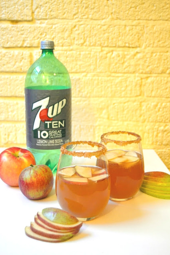 This 5-minute-or-less caramel apple cider cocktail is perfect for any fall day with a caramel-brown sugar rim for sweetness! www.nutritionistreviews.com