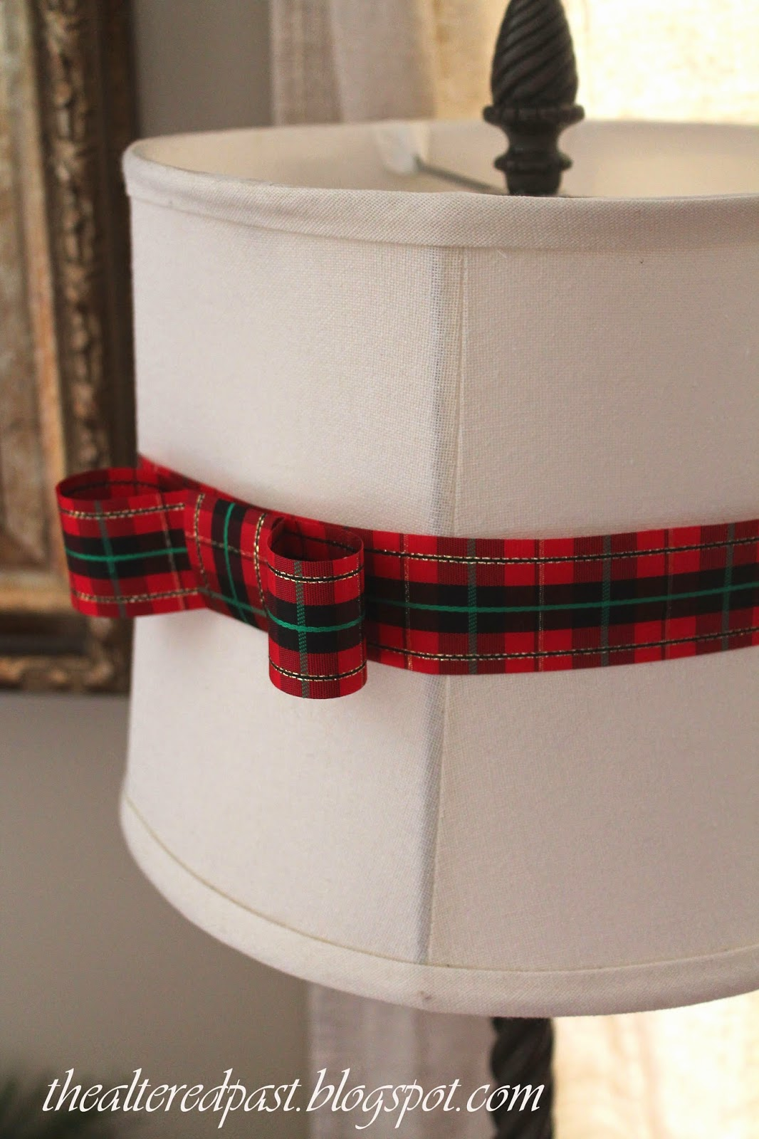 christmas home decor, plaid ribbon lamp shade, the altered past