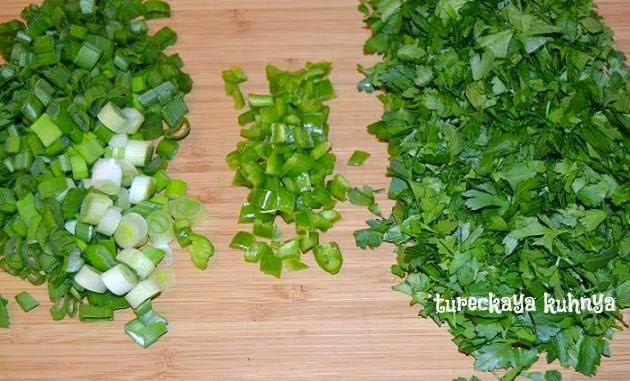 легкий диетический салат - булгур с зеленью