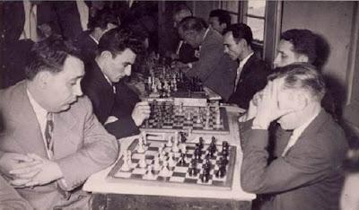 Selección comarcal contra el Club Ajedrez Lillet en 1954