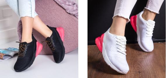 Pantofi sport Carina albi, negri de dama cu talpa moale lejeri