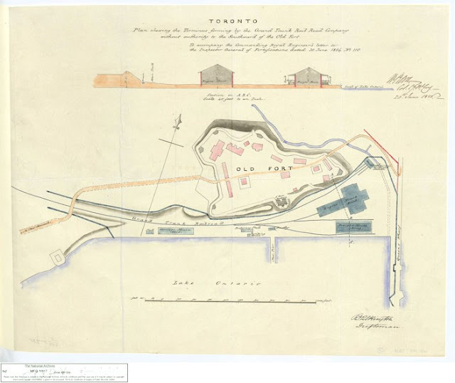 Plan shewing the Terminus forming by the Grand Trunk Rail Road Company without authority to the Southward of the Old Fort, 1856