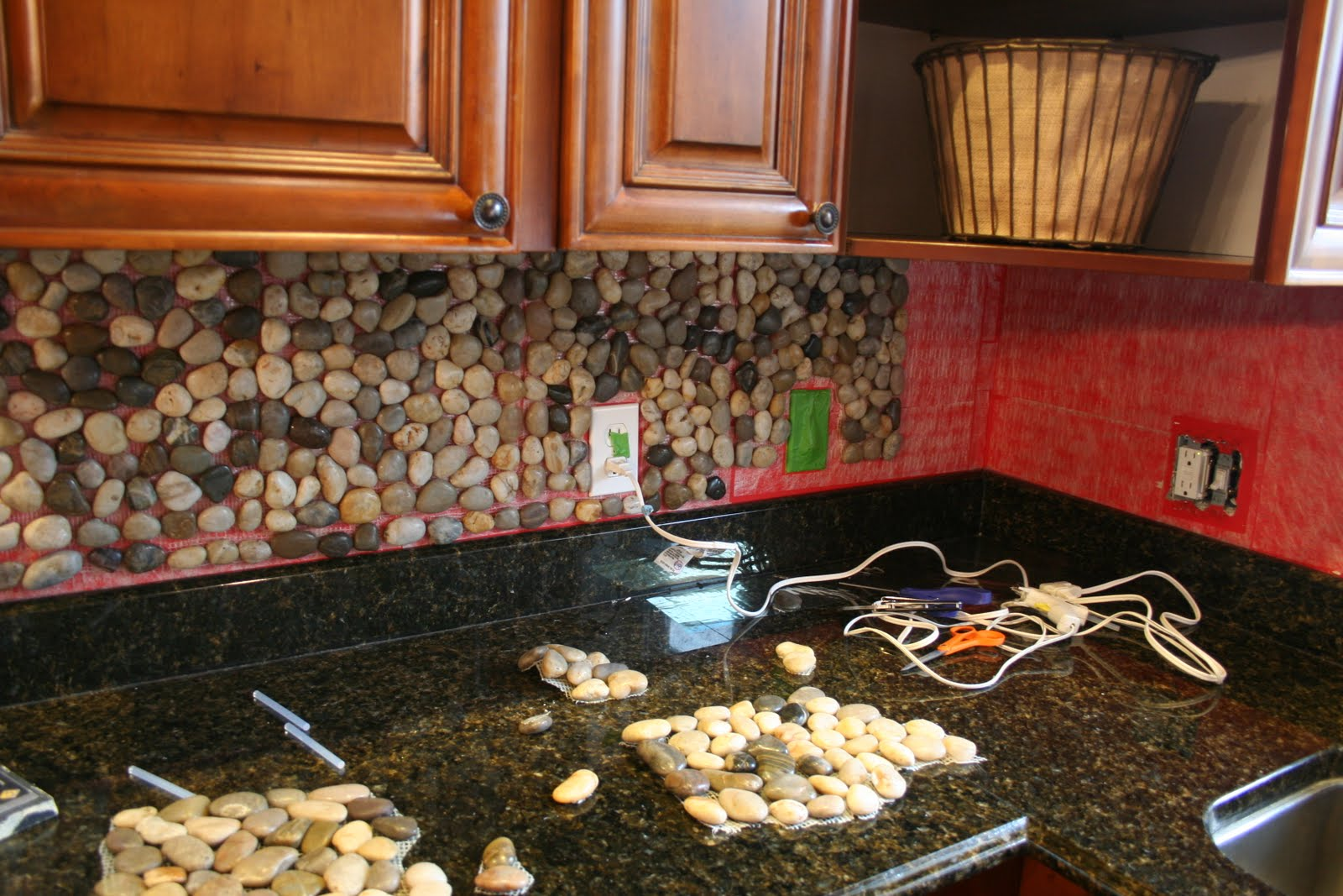 Backsplash For Kitchen Oak Cabinet Riverstone Granite