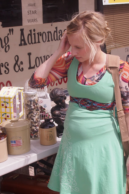 organic+mint+dress+thrifting - My Mint Swirl Skater Dress & A Thrift Trip