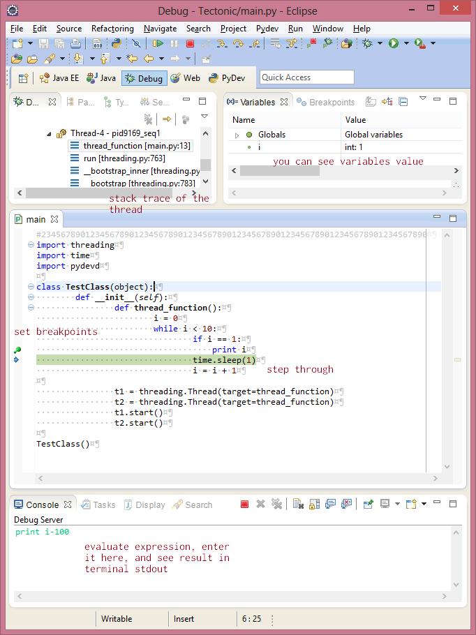 Debug Python Thread / Multithreaded Pydev Attach Debugger Eclipse