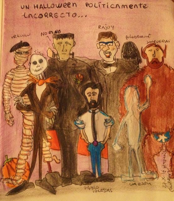 Un Halloween políticamente incorrecto - Políticos (y su monstruo) de izquierda a derecha Urkullu (momia) - Albert Rivera (Jack Skeleton) - Pedro Sánchez (Frankenstein) - Pablo Iglesias (él mismo) - Rajoy (Drácula) - Puigdemont (Nadie lo sabe) - Garzón (Hombre invisible) - Junqueras (Hombre lobo) - Viñeta - El troblogdita