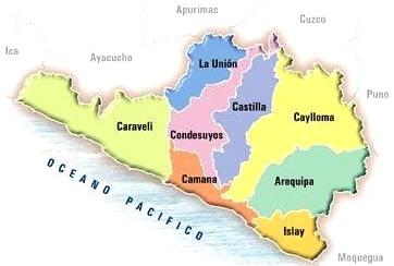 Dibujo del Mapa político de Arequipa a colores para niños