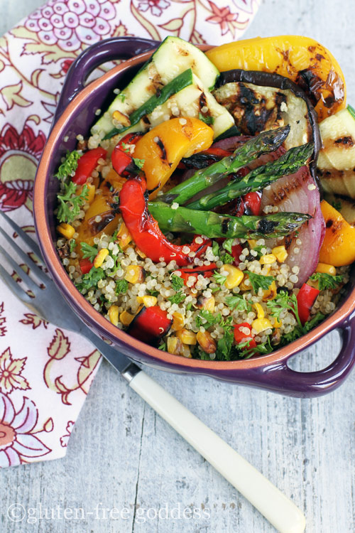 Gorgeous gluten-free quinoa with grilled vegetables- perfect summer fare.