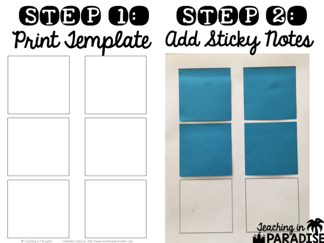 """I love printing on sticky notes!"" says Teaching in Paradise. ""It's simple, versatile, and a major time saver."" Here's a simple tutorial and free template."