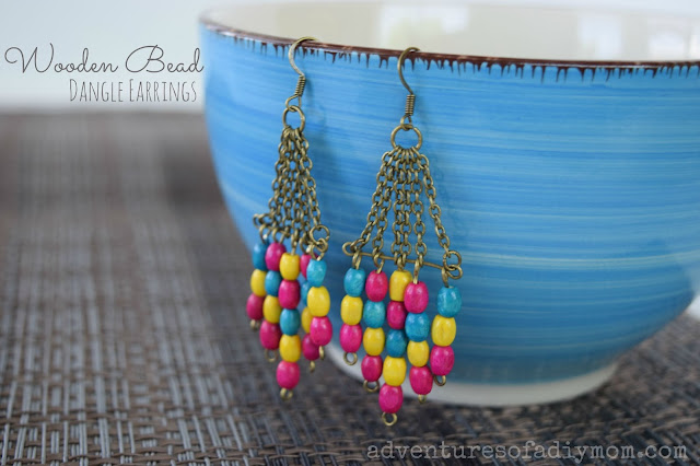 Wooden Bead Dangle Earrings