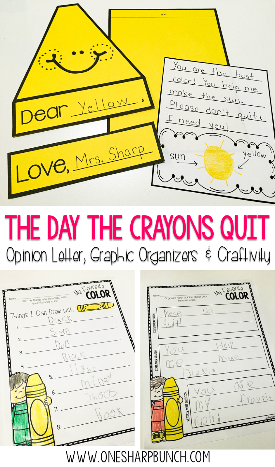 Opinion Writing With The Day The Crayons Quit One Sharp Bunch