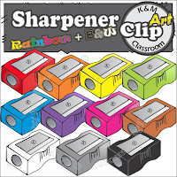 Sharpener Clip Art in Rainbow Colors