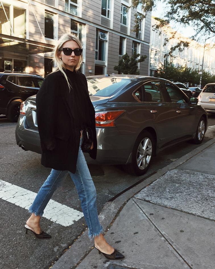 Aritzia, Joe's Jeans,helensisfot, Chanel mules slides, bottega veneta intrecciato