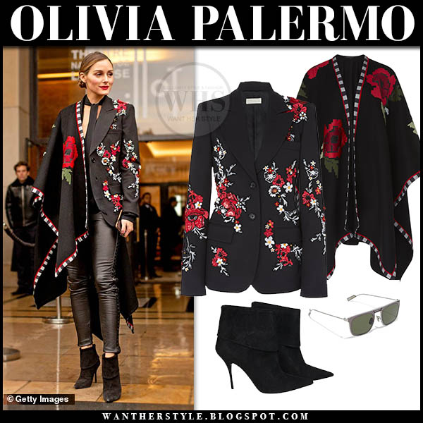 Olivia Palermo in black embroidered elie saab cape, black floral blazer and black leather pants fashion week style january 23