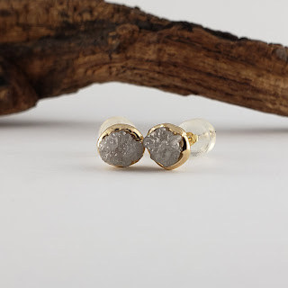Rough Diamond Bezel Post Earrings Recycled Gold - Rose, White, or Yellow Gold Custom Made Earrings