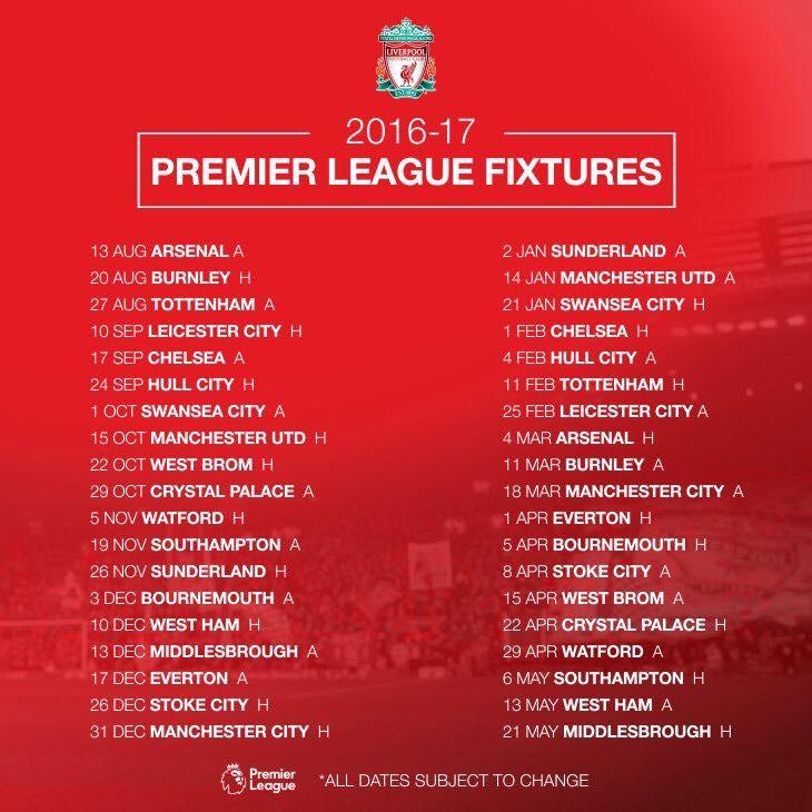 Jadual Liverpool EPL 2016/ 2017