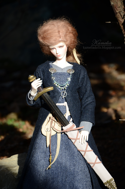 Viking outfit and sword for Raccoon Doll Daisy