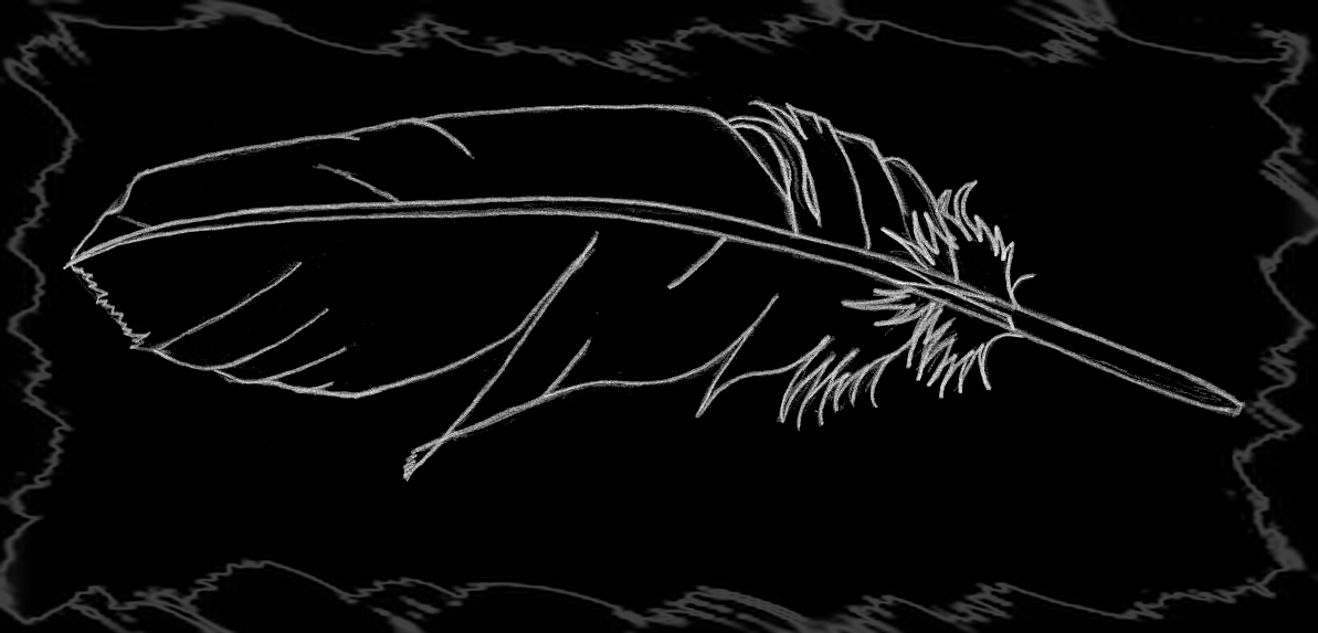 Raven feather graphic from original art by Tree Pruitt.