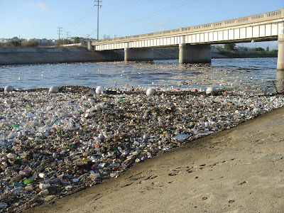 Plastic beach trash