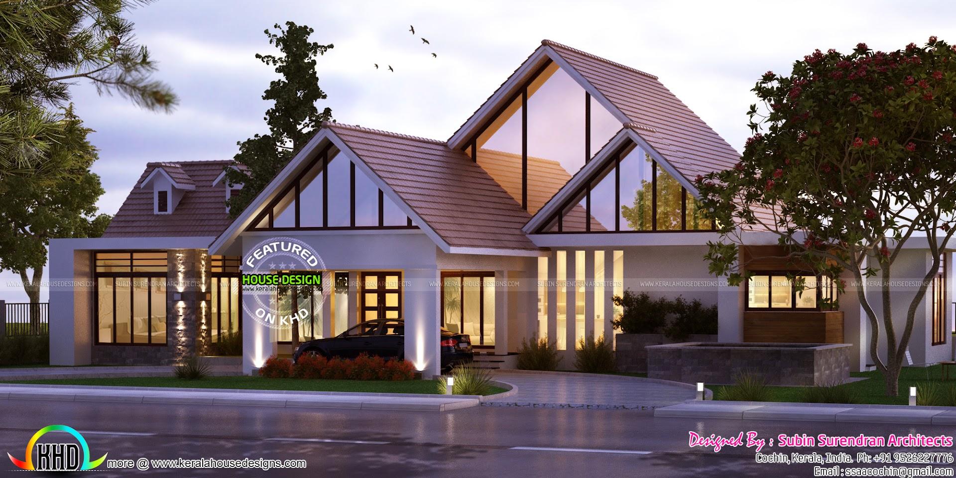 Single Floor Sloping Roof 2463 Sq Ft Kerala Home Design