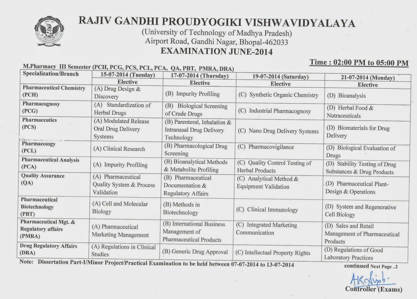 RGPV M Pharmacy 3rd Sem Exam Time Table   RGPV Examination
