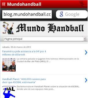Mundo Handball, versión mobile