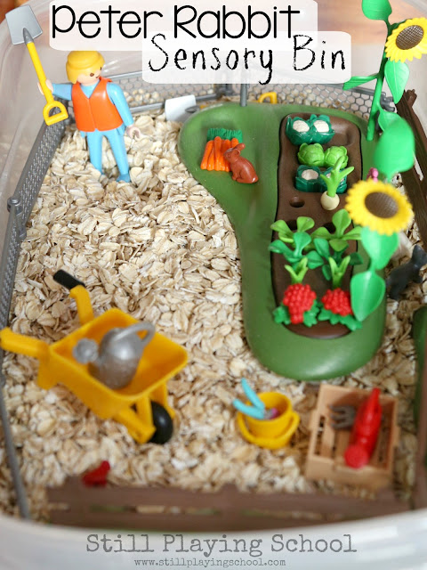 Peter Rabbit sensory bin for kids to retell this classic children's book!