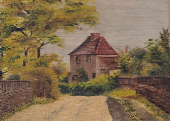 "Oil Painting 9"" x 6""  Label on back reads ""Folly Lane"" Potters Bar from M.C.A. Dec.25 1909 Image from the Peter Miller Collection"
