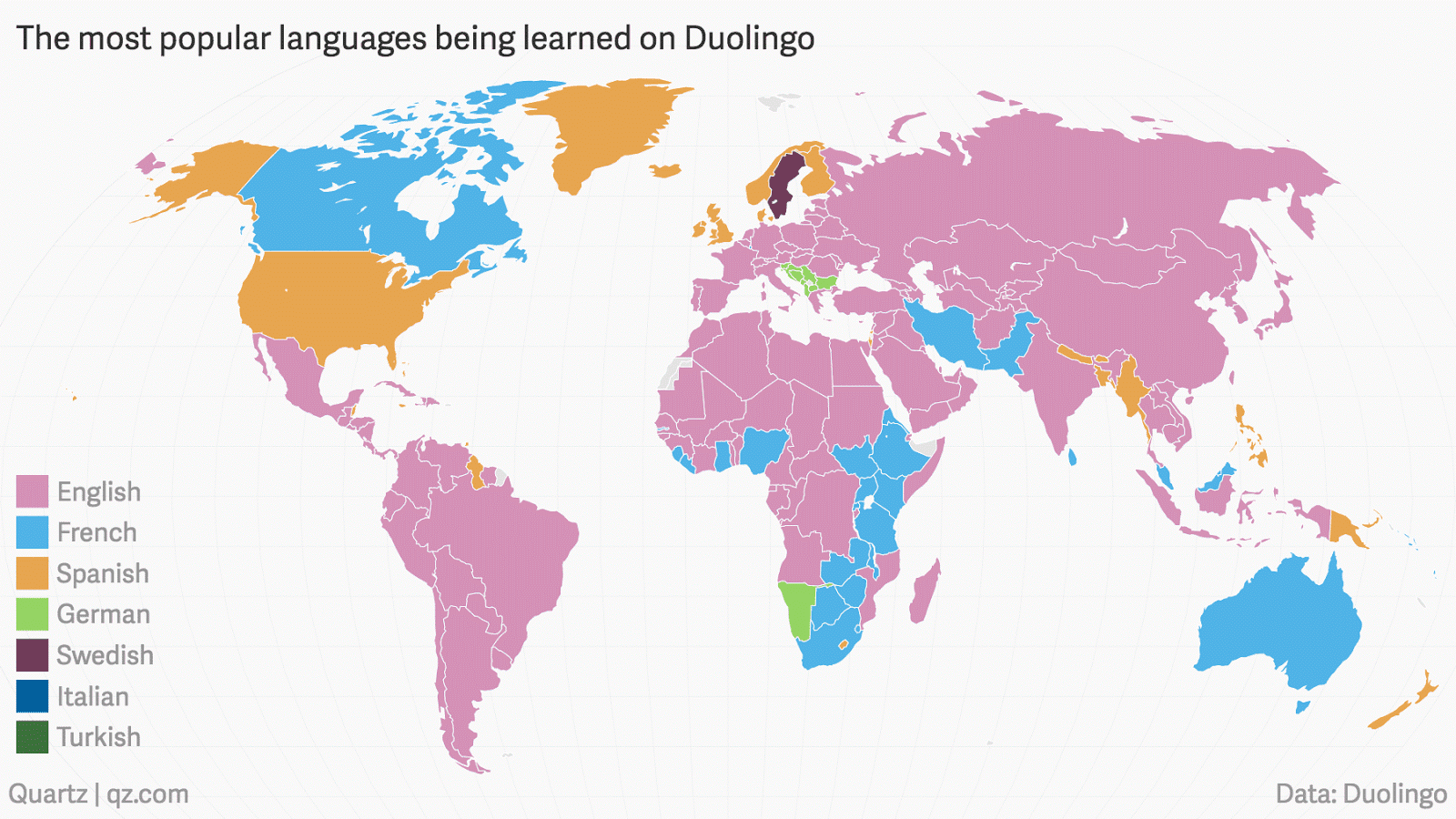 The most popular language on Duolingo by country