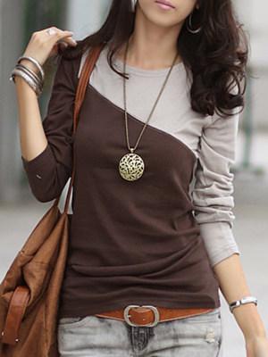Autumn Spring Cotton Blend Women Round Neck Color Block Long Sleeve Long Sleeve T-Shirts