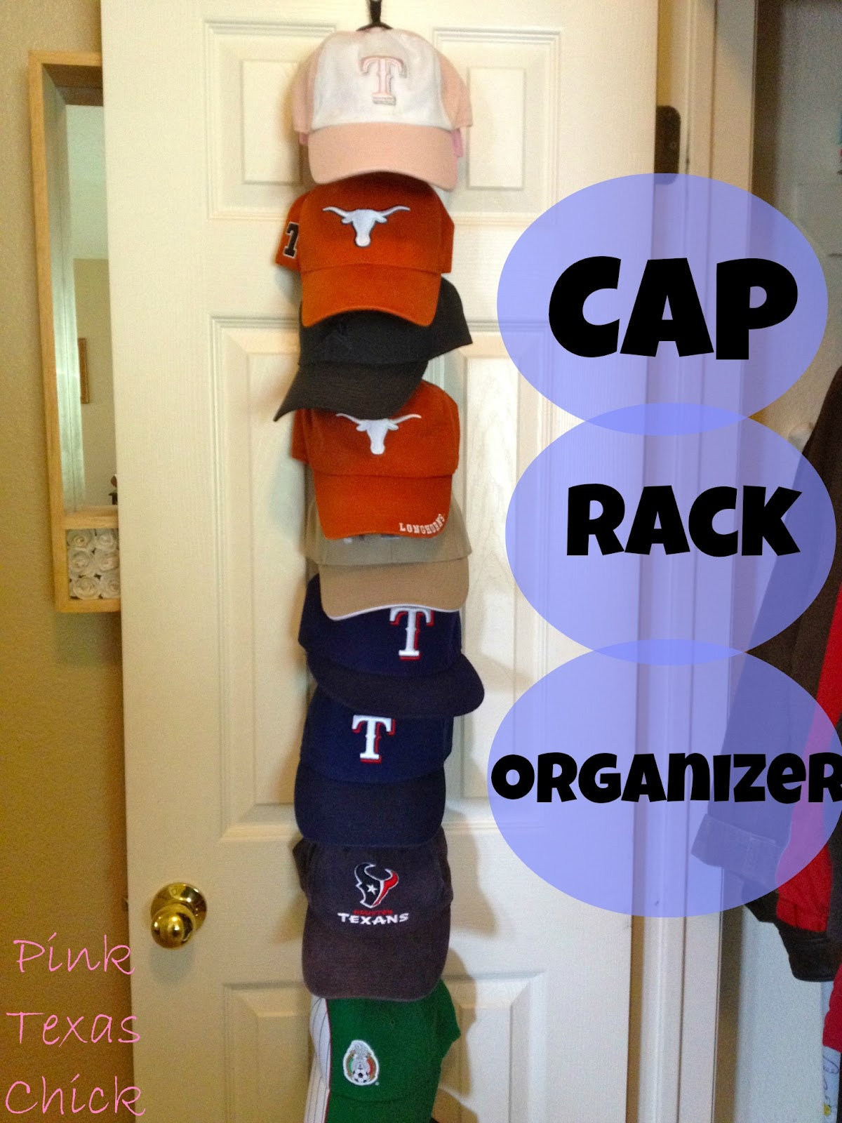 Pink Texas Chick Baseball Cap Rack Organizer
