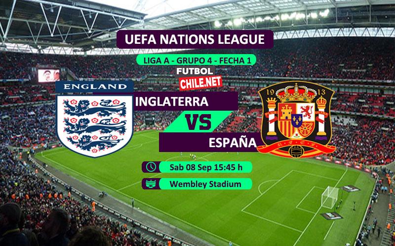 Mira Inglaterra vs España en vivo y online por la primera fecha del grupo 4 de la Liga A de UEFA Nations League