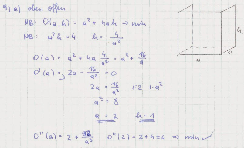mathe beispielsammlung extremwertaufgabe 9 blechbeh lter von der form quadratischer prismen. Black Bedroom Furniture Sets. Home Design Ideas
