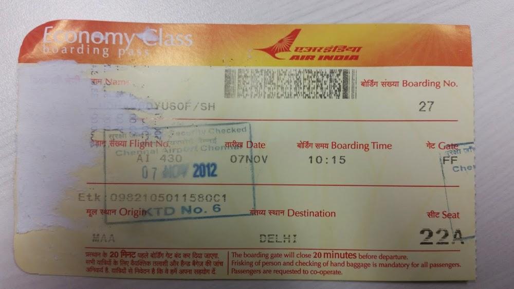 Tiket Air India dari Chennai ke Delhi