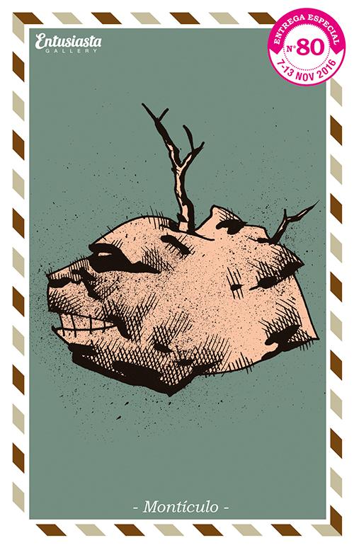 Dibujo a tinta de un montículo con rostro y árboles secos