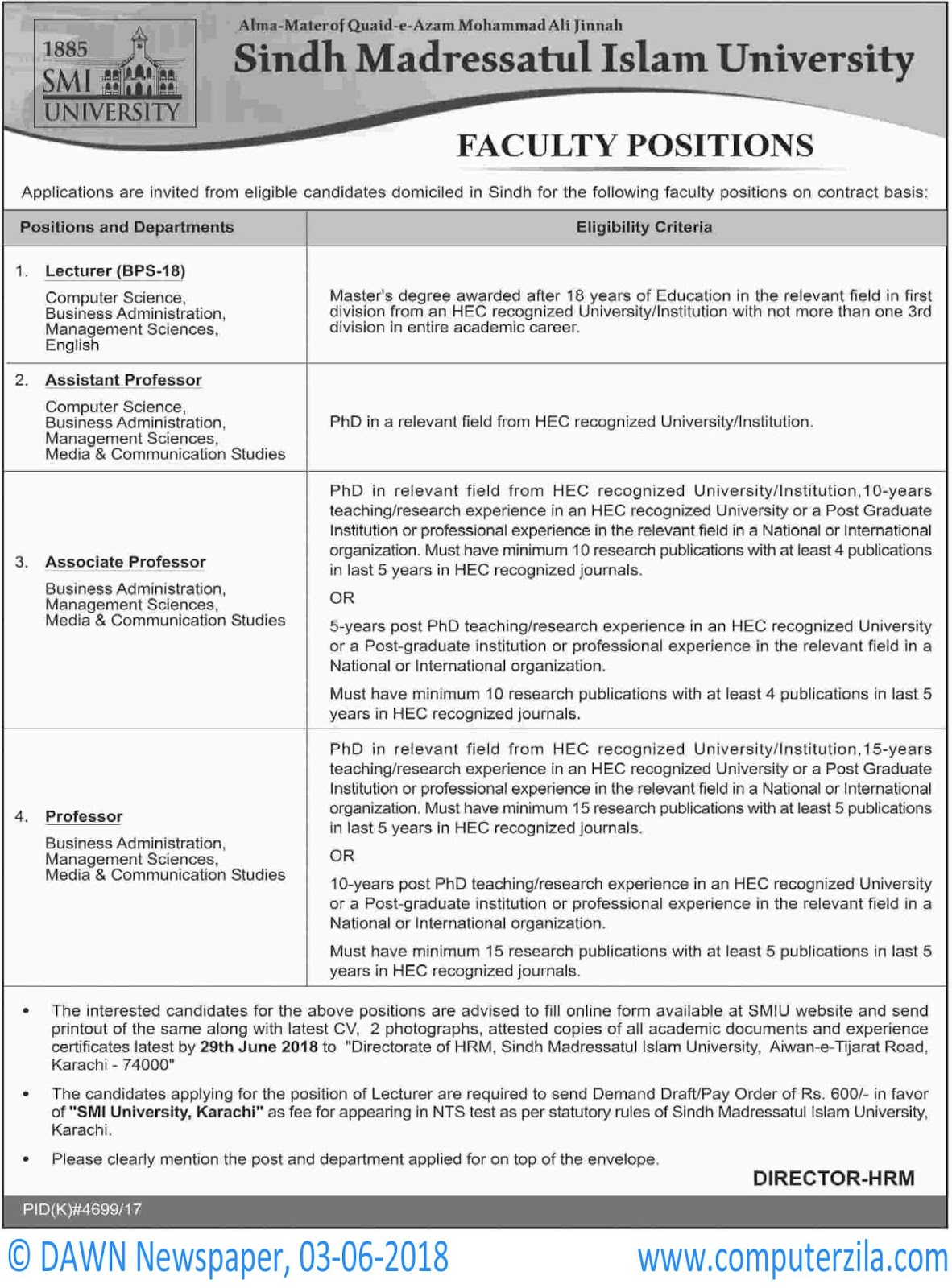 Faculty Positions at Sindh Madressatul Islam University
