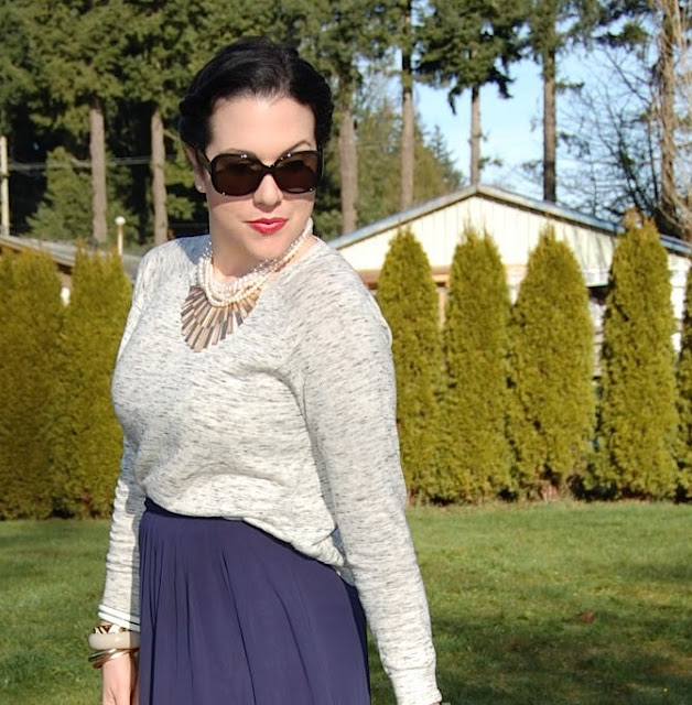 Victory rolls, Forever 21 sweater, blue midi skirt, pearl necklace and matchstick necklace