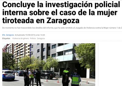 Concluye la investigación policial interna sobre el caso de la mujer tiroteada en Zaragoza
