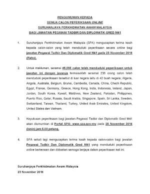 Keputusan Peperiksaan Pegawai Tadbir Diplomatik(PTD) Gred M41 2016