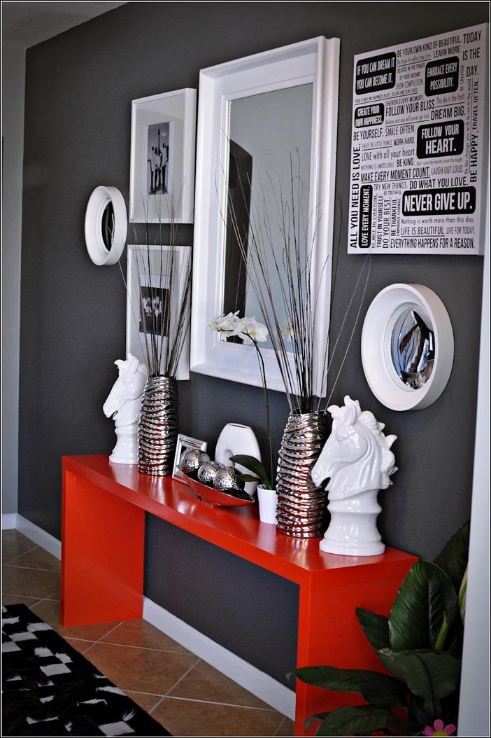 Salon Mur Rouge Et Gris