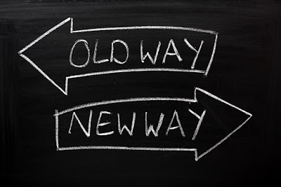 One arrow points to the old way; another arrow points to the new way