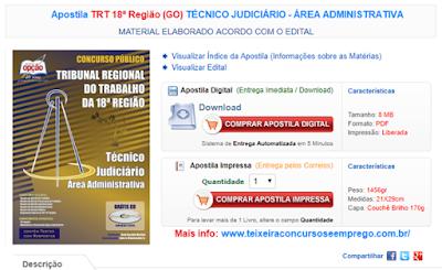 Apostila do Concurso TRT Goias - Área Administrativa 2017