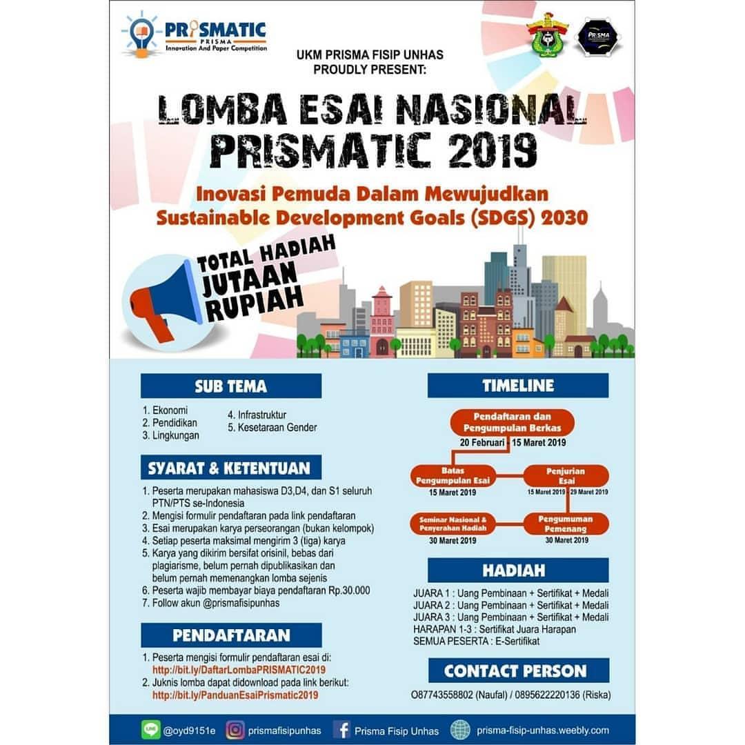 Lomba Esai Nasional PRISMATIC 2019 Mahasiswa