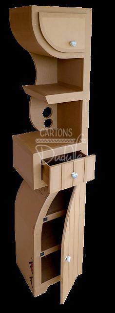 Etagère, colonne en carton recyclé, tiroir, étagères, niche, forme moderne design épuré et contemporain. Décoration intérieure, et création de meubles et objets en carton recyclé. Mobilier artisanal entièrement fait main par  © CARTONS DUDULLE.